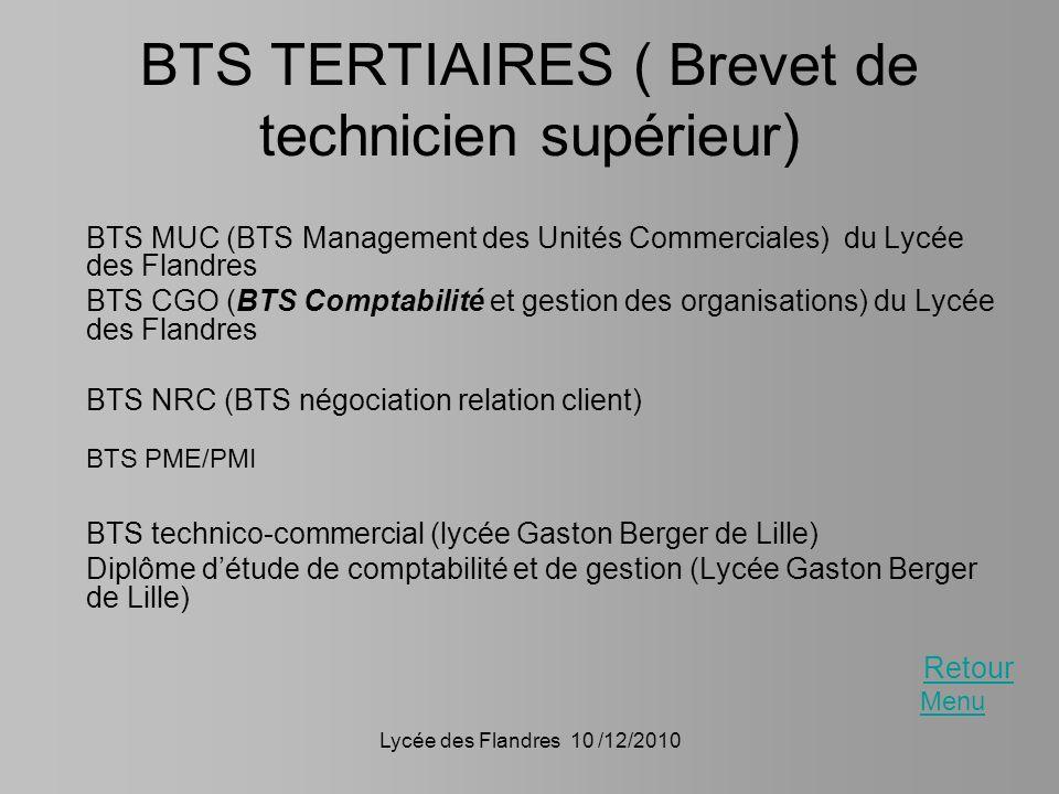 BTS TERTIAIRES ( Brevet de technicien supérieur)