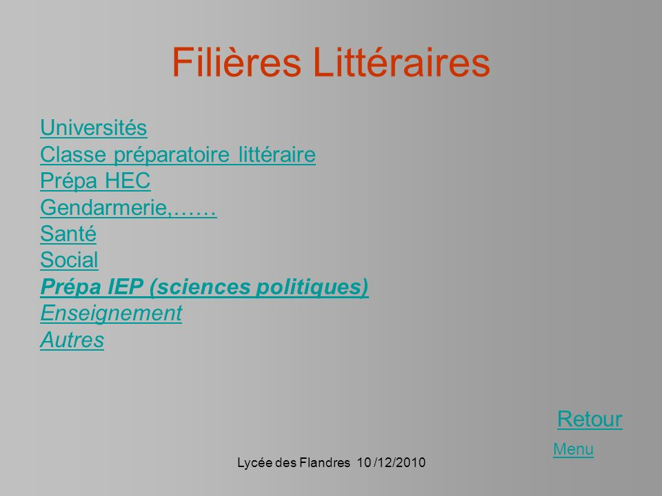 Filières Littéraires Universités Classe préparatoire littéraire