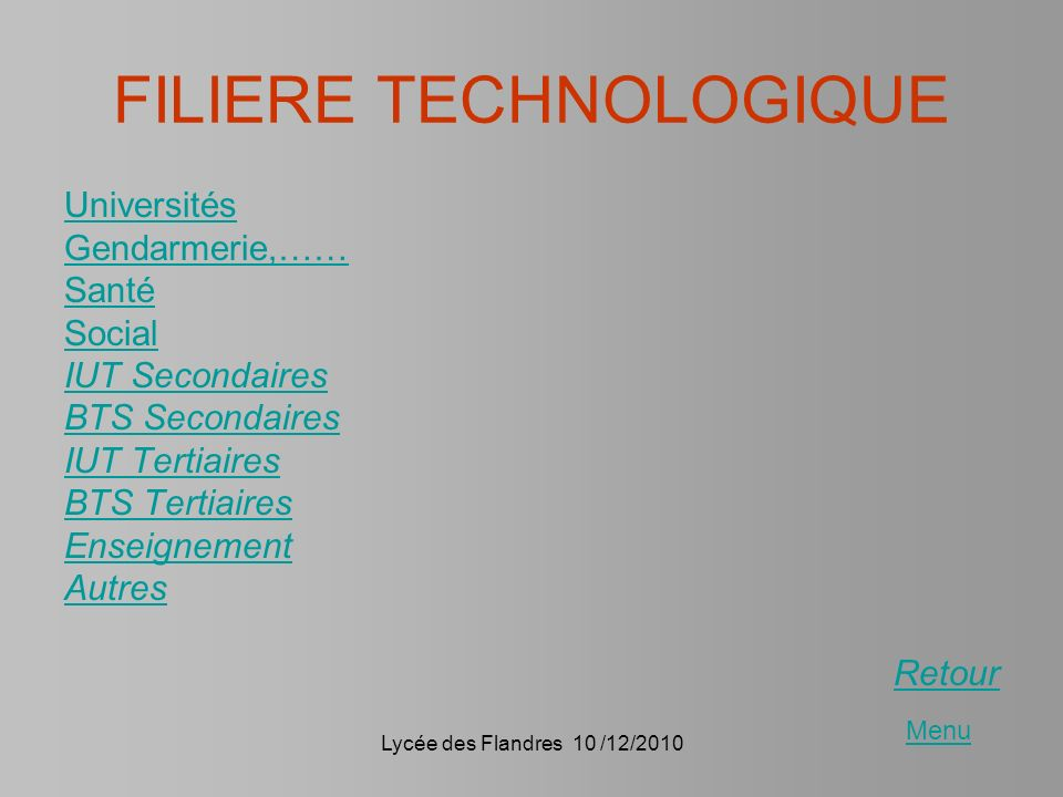 FILIERE TECHNOLOGIQUE