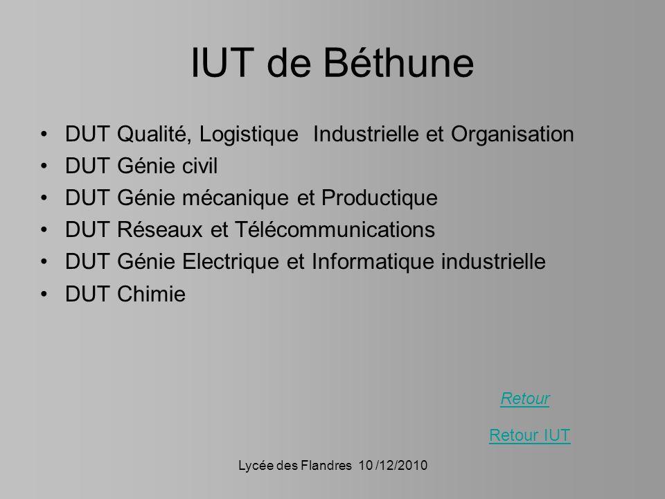 IUT de Béthune DUT Qualité, Logistique Industrielle et Organisation