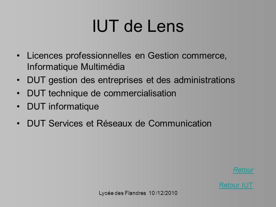 IUT de Lens Licences professionnelles en Gestion commerce, Informatique Multimédia. DUT gestion des entreprises et des administrations.