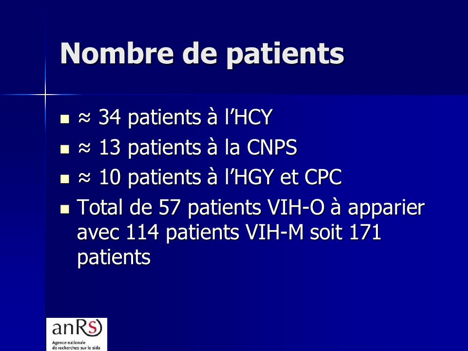 Nombre de patients ≈ 34 patients à l'HCY ≈ 13 patients à la CNPS