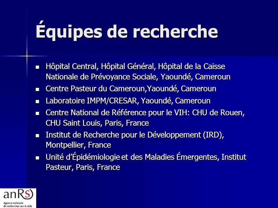 Équipes de recherche Hôpital Central, Hôpital Général, Hôpital de la Caisse Nationale de Prévoyance Sociale, Yaoundé, Cameroun.