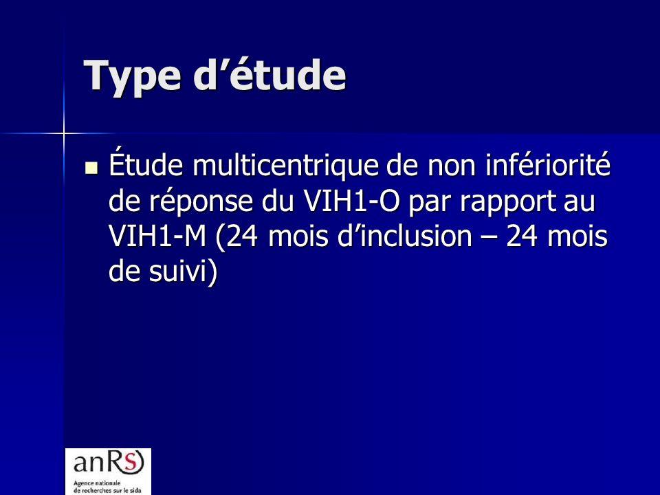Type d'étude Étude multicentrique de non infériorité de réponse du VIH1-O par rapport au VIH1-M (24 mois d'inclusion – 24 mois de suivi)