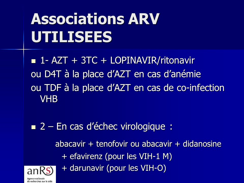 Associations ARV UTILISEES