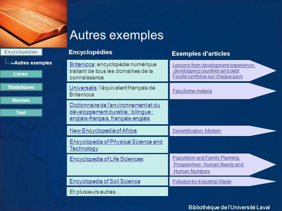 Autres exemples Encyclopédies Exemples d'articles