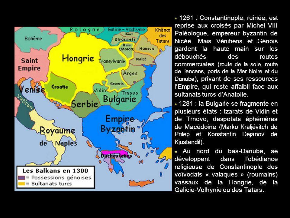 * 1261 : Constantinople, ruinée, est reprise aux croisés par Michel VIII Paléologue, empereur byzantin de Nicée. Mais Vénitiens et Génois gardent la haute main sur les débouchés des routes commerciales (route de la soie, route de l'encens, ports de la Mer Noire et du Danube), privant de ses ressources l'Empire, qui reste affaibli face aux sultanats turcs d'Anatolie.