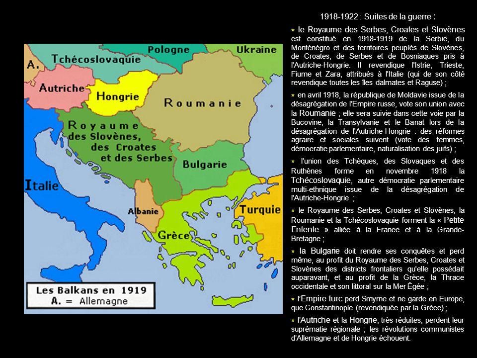 1918-1922 : Suites de la guerre :