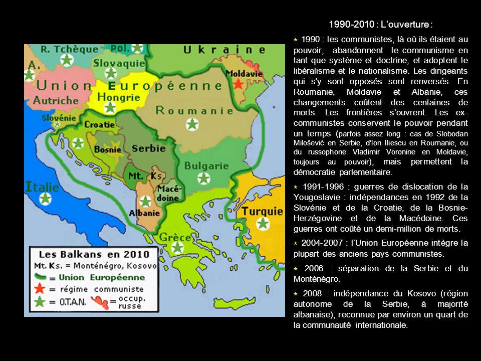 * 2006 : séparation de la Serbie et du Monténégro.