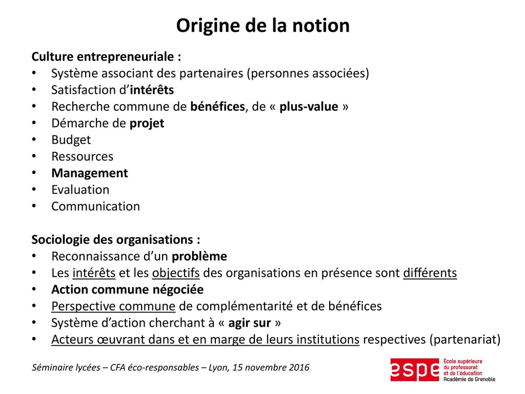 Origine de la notion Culture entrepreneuriale :