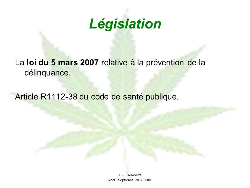 Législation La loi du 5 mars 2007 relative à la prévention de la délinquance. Article R1112-38 du code de santé publique.