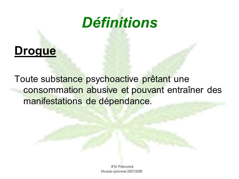 Définitions Drogue. Toute substance psychoactive prêtant une consommation abusive et pouvant entraîner des manifestations de dépendance.