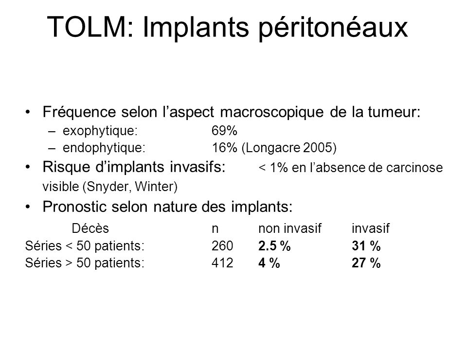 TOLM: Implants péritonéaux