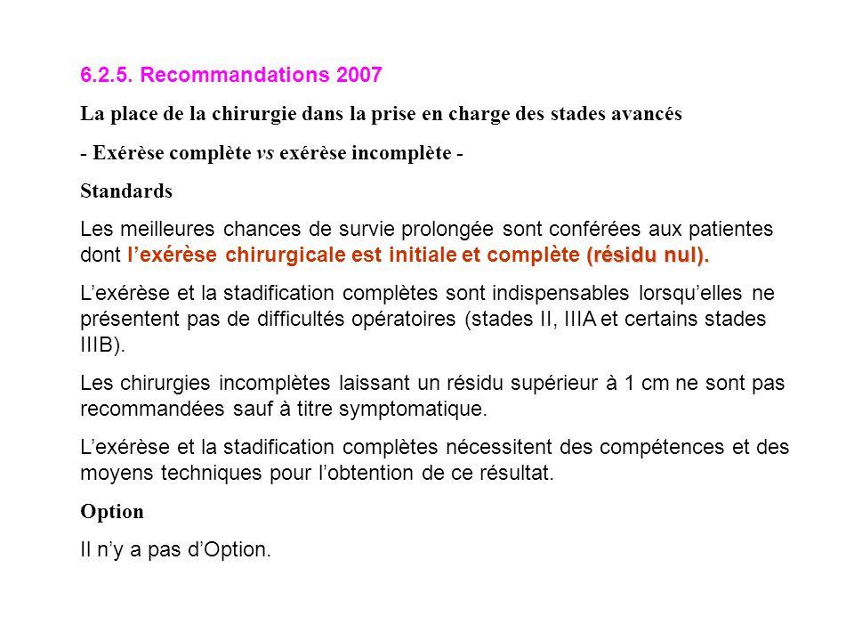 6.2.5. Recommandations 2007 La place de la chirurgie dans la prise en charge des stades avancés. - Exérèse complète vs exérèse incomplète -