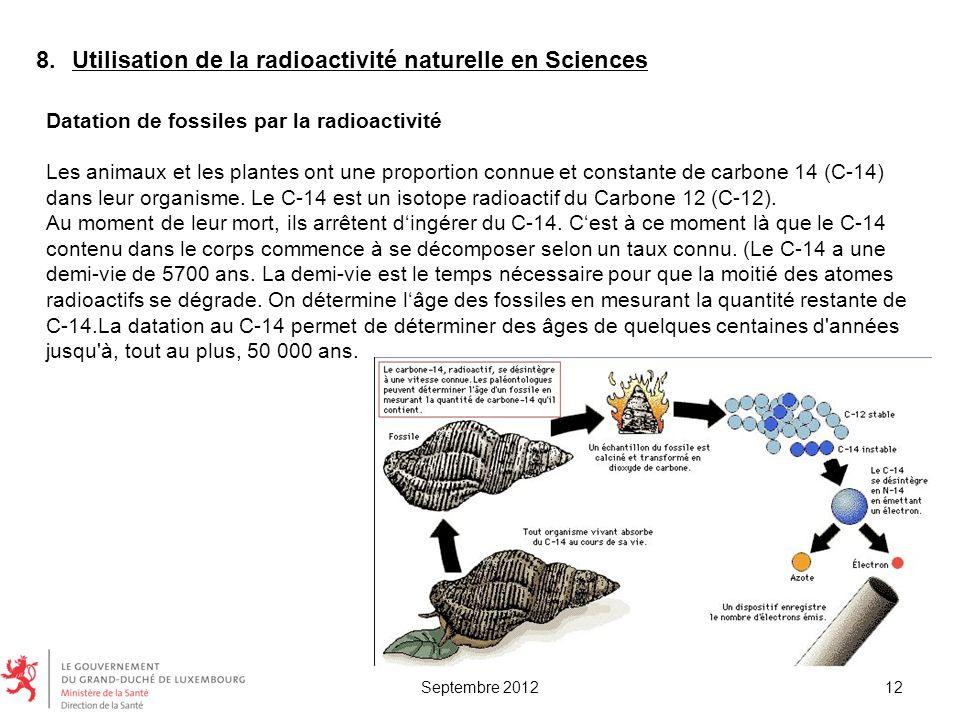 Utilisation de la radioactivité naturelle en Sciences