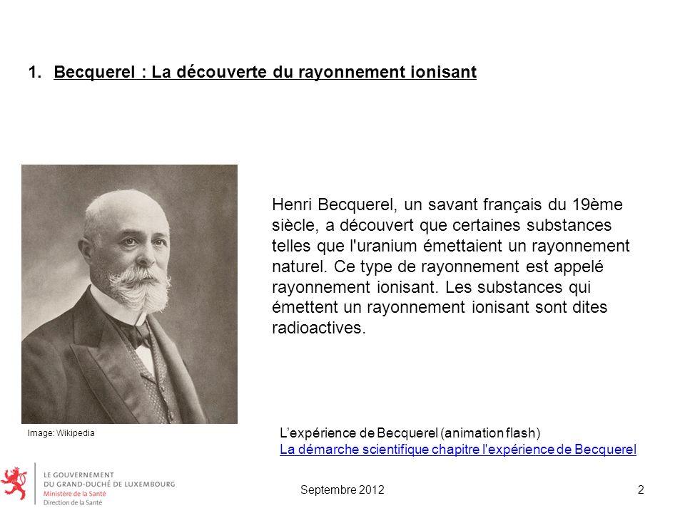 Becquerel : La découverte du rayonnement ionisant