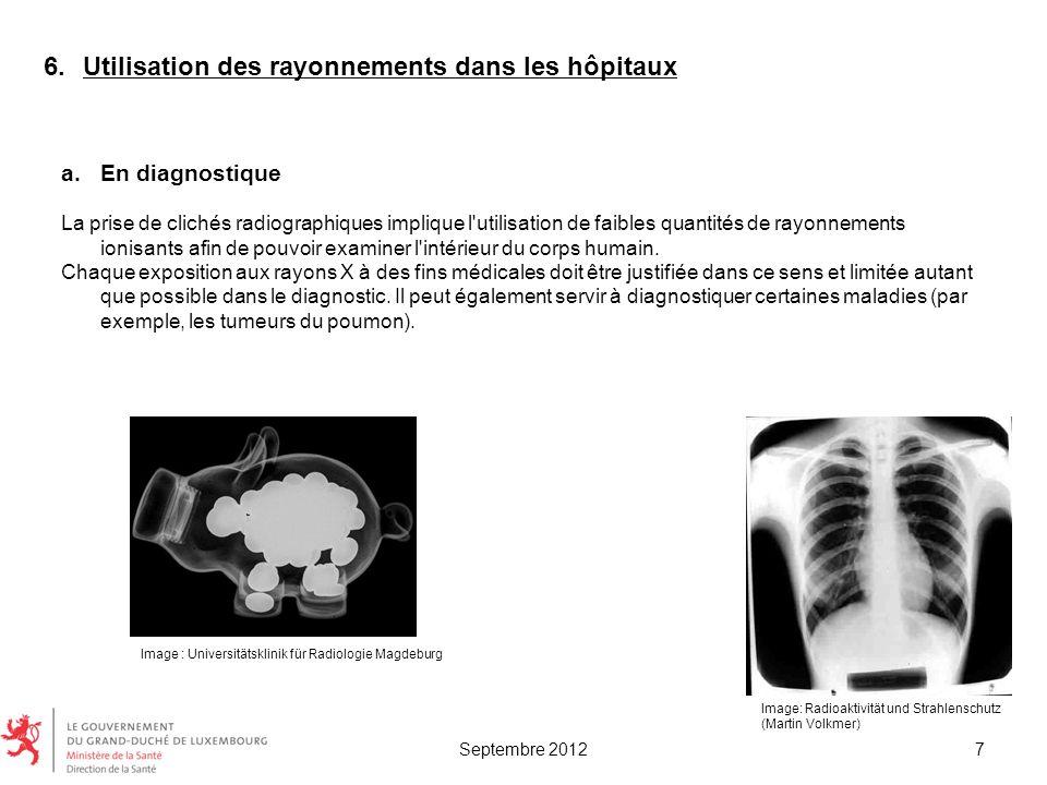 Utilisation des rayonnements dans les hôpitaux