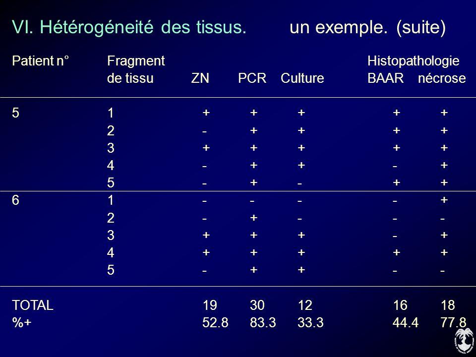 VI. Hétérogéneité des tissus. un exemple. (suite)