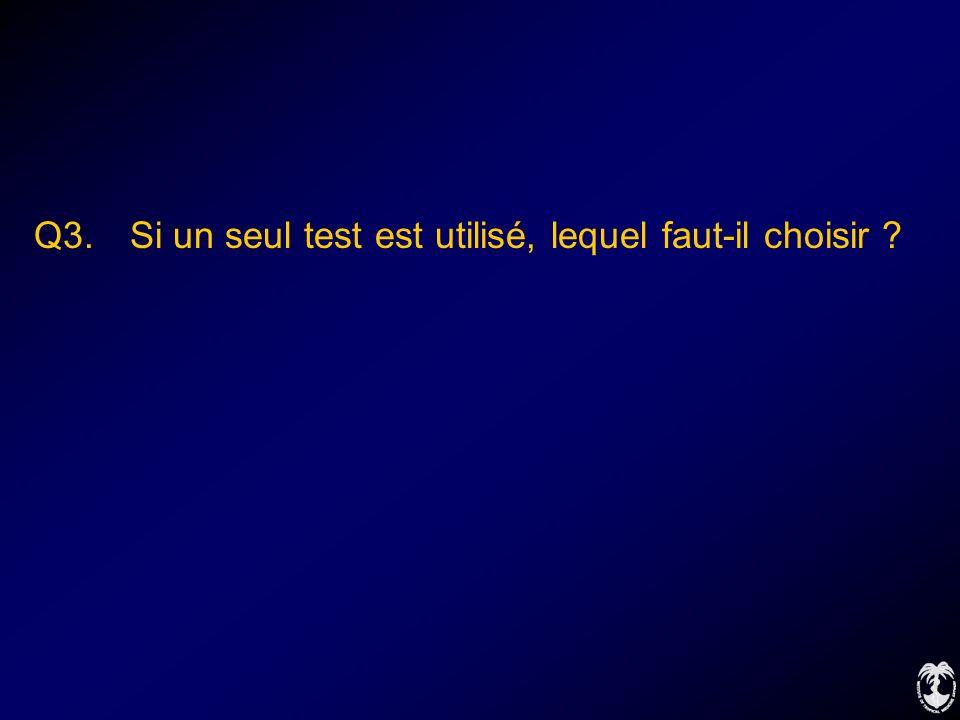 Q3. Si un seul test est utilisé, lequel faut-il choisir