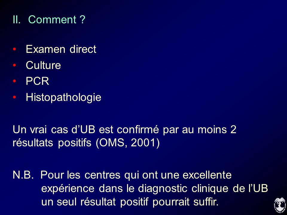 II. Comment Examen direct. Culture. PCR. Histopathologie. Un vrai cas d'UB est confirmé par au moins 2 résultats positifs (OMS, 2001)