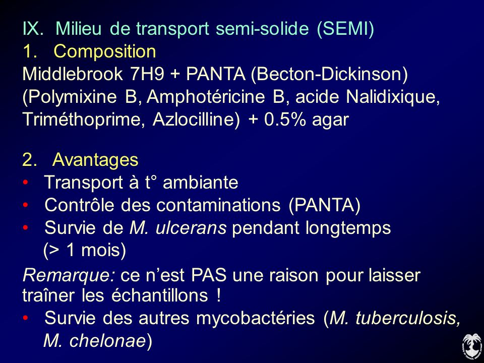IX. Milieu de transport semi-solide (SEMI)