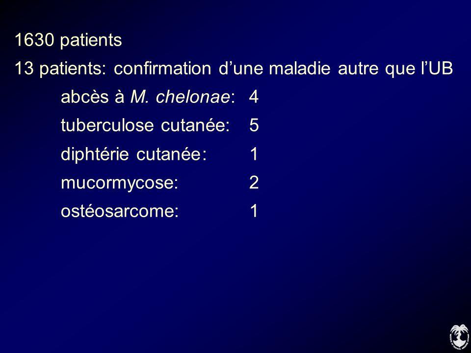 1630 patients 13 patients: confirmation d'une maladie autre que l'UB. abcès à M. chelonae: 4. tuberculose cutanée: 5.
