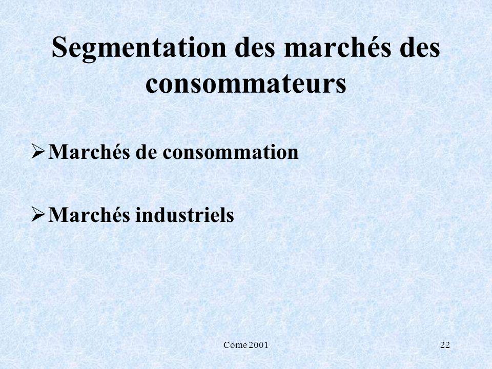 Segmentation des marchés des consommateurs