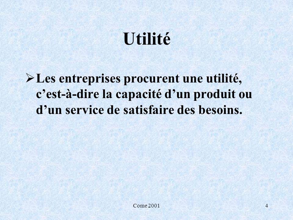 Utilité Les entreprises procurent une utilité, c'est-à-dire la capacité d'un produit ou d'un service de satisfaire des besoins.