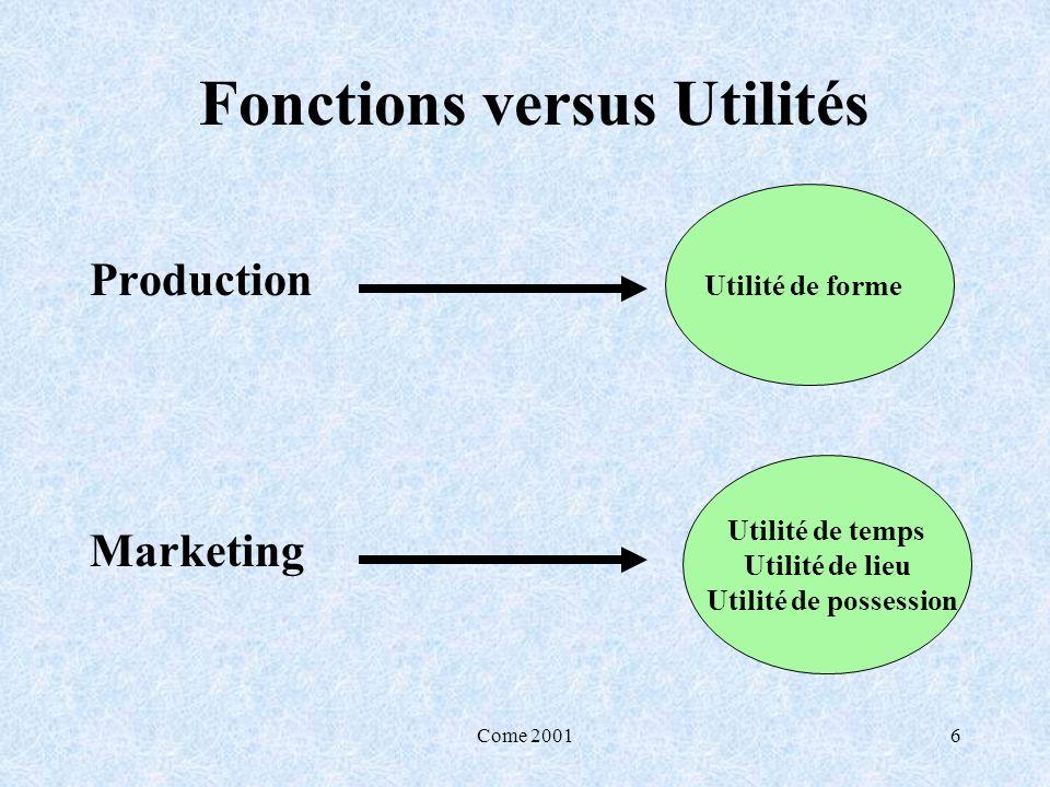 Fonctions versus Utilités