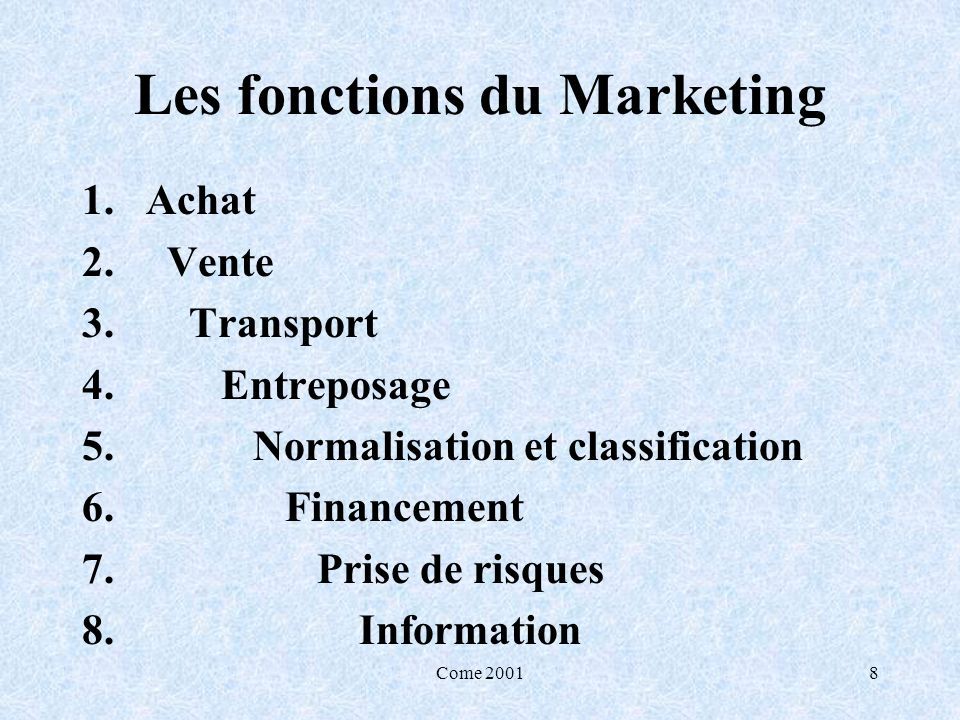 Les fonctions du Marketing