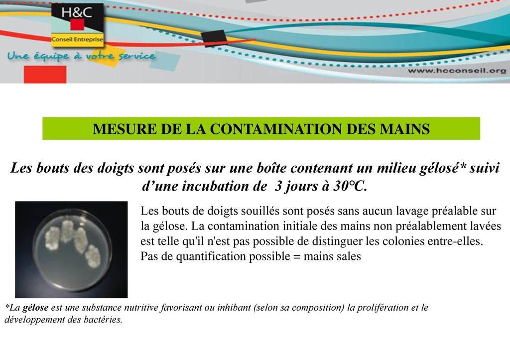 MESURE DE LA CONTAMINATION DES MAINS