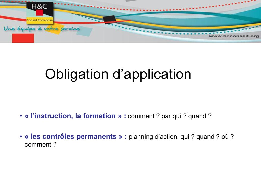 Obligation d'application
