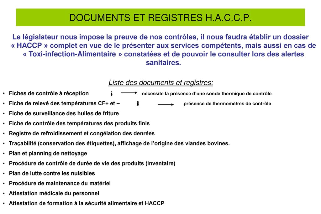 DOCUMENTS ET REGISTRES H.A.C.C.P.