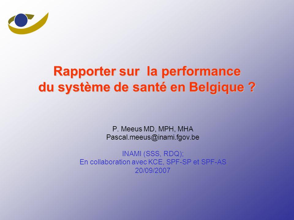 Rapporter sur la performance du système de santé en Belgique