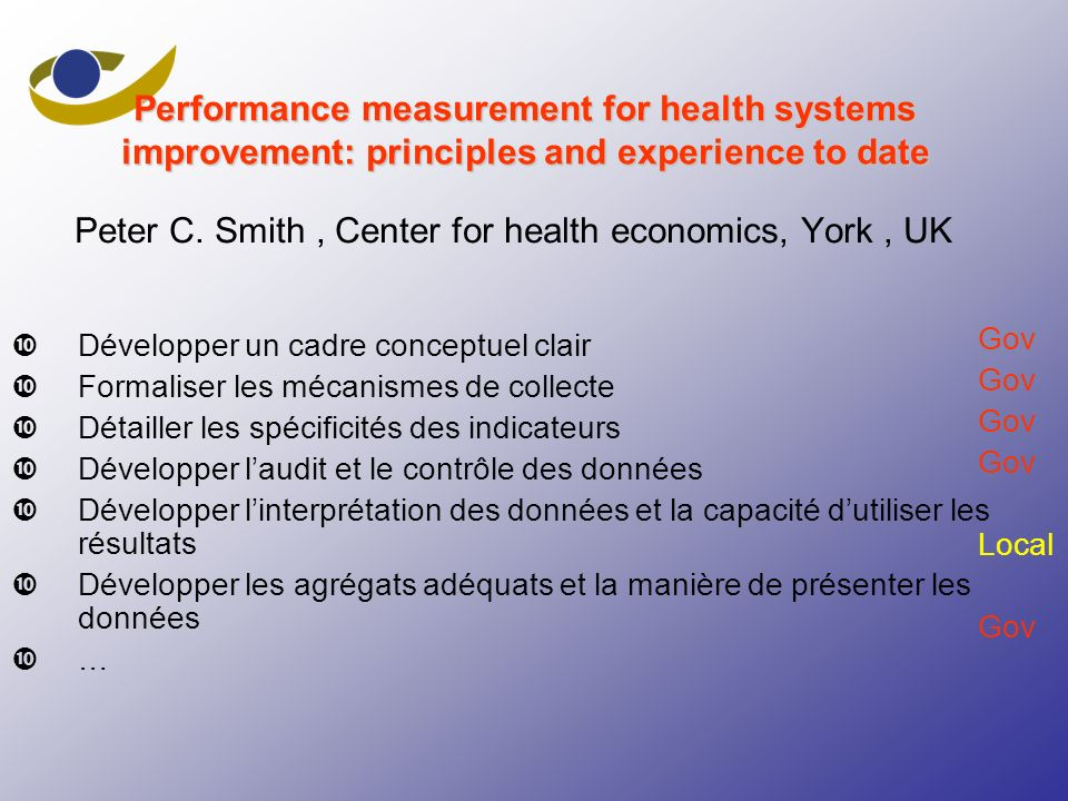 Peter C. Smith , Center for health economics, York , UK