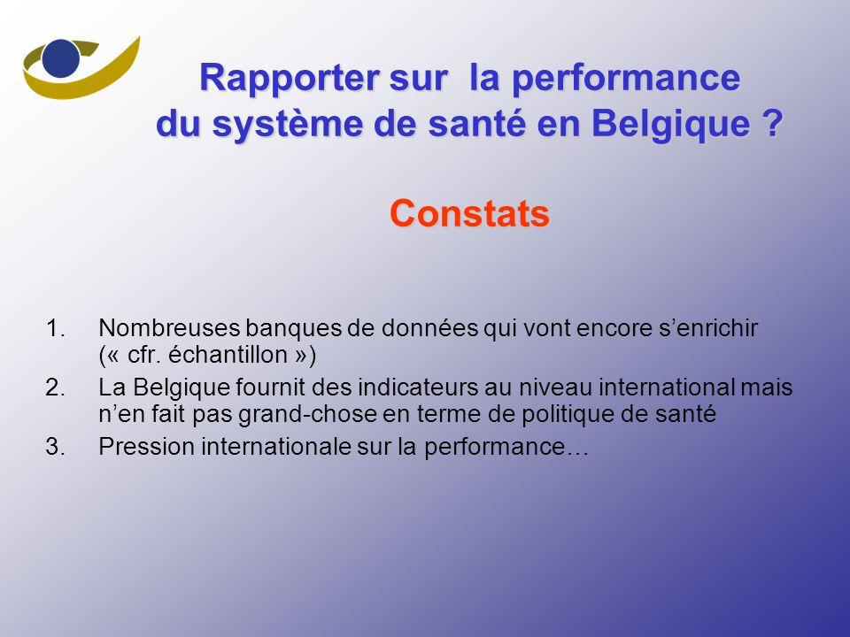 Rapporter sur la performance du système de santé en Belgique Constats