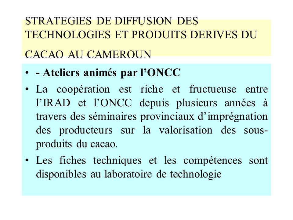 STRATEGIES DE DIFFUSION DES TECHNOLOGIES ET PRODUITS DERIVES DU CACAO AU CAMEROUN