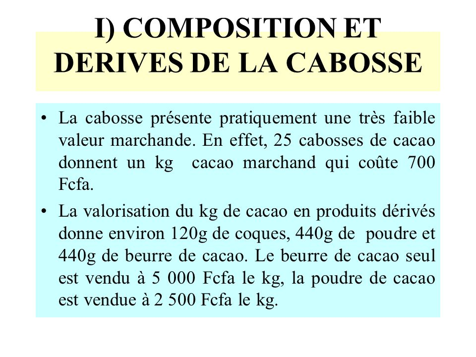 I) COMPOSITION ET DERIVES DE LA CABOSSE