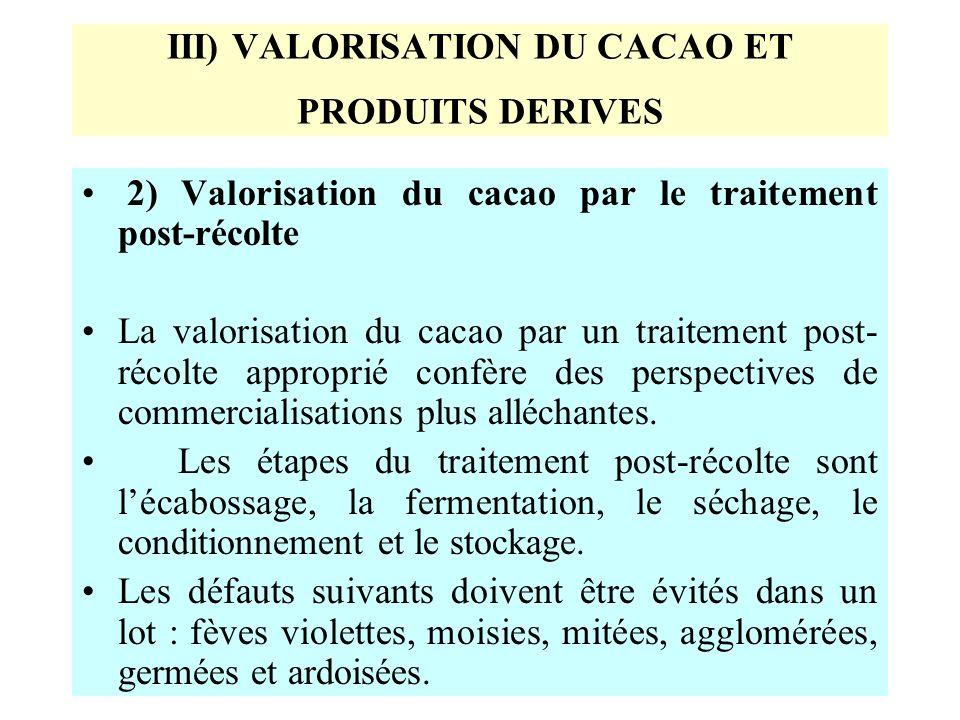 III) VALORISATION DU CACAO ET PRODUITS DERIVES