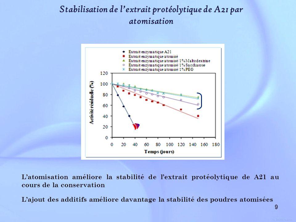 Stabilisation de l'extrait protéolytique de A21 par atomisation