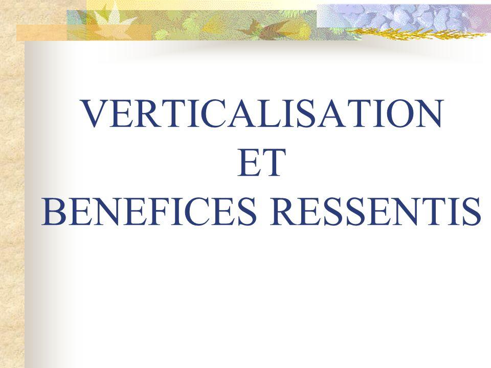 VERTICALISATION ET BENEFICES RESSENTIS