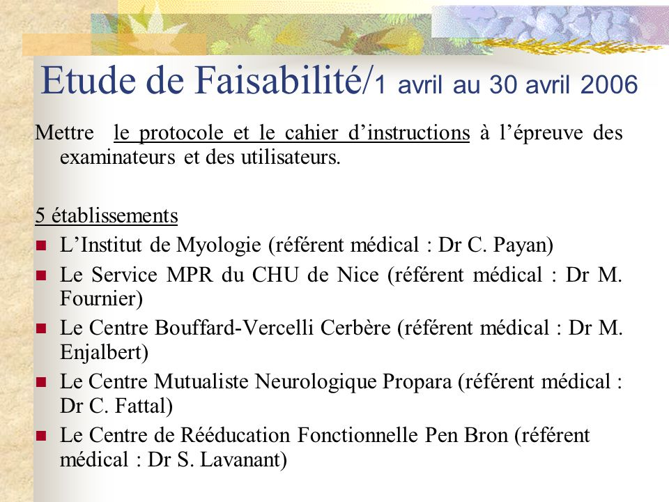 Etude de Faisabilité/1 avril au 30 avril 2006