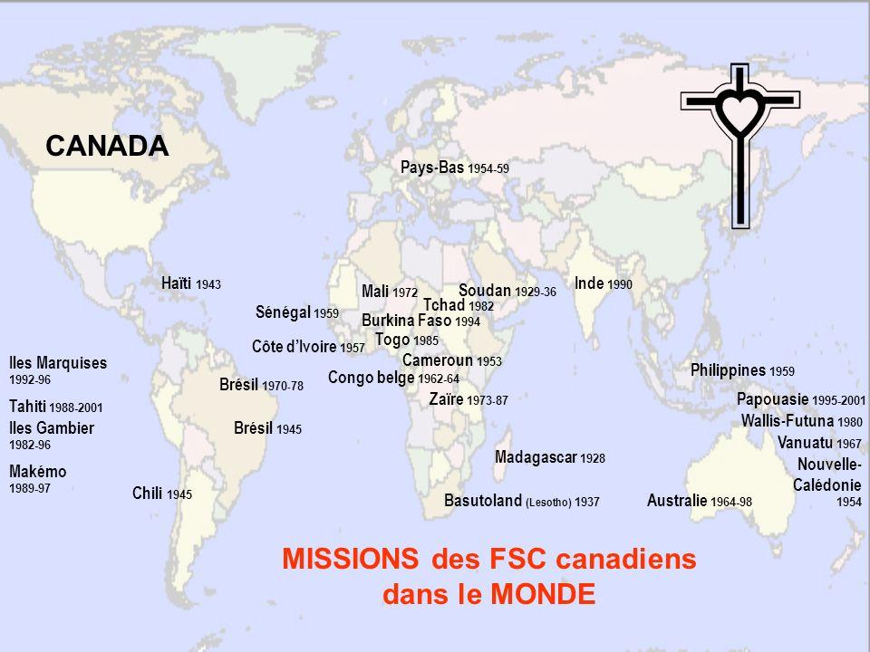 MISSIONS des FSC canadiens dans le MONDE