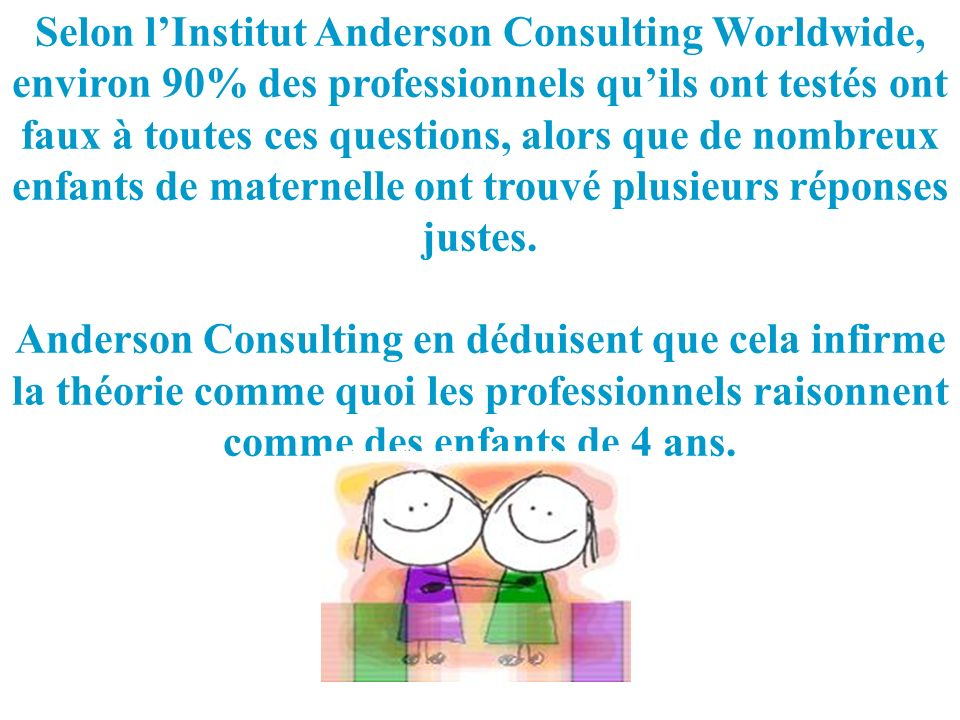 Selon l'Institut Anderson Consulting Worldwide,