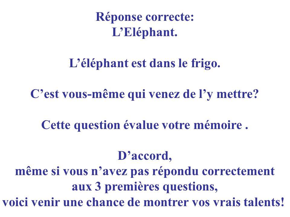 L'éléphant est dans le frigo. C'est vous-même qui venez de l'y mettre