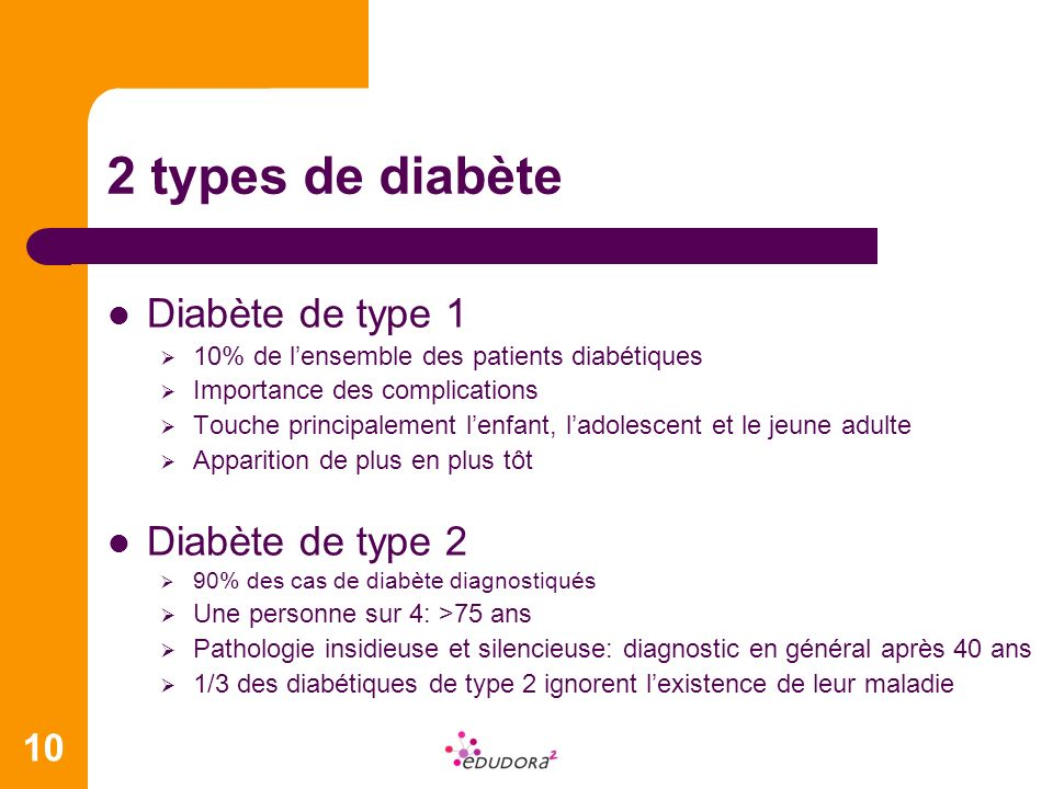 2 types de diabète Diabète de type 1 Diabète de type 2