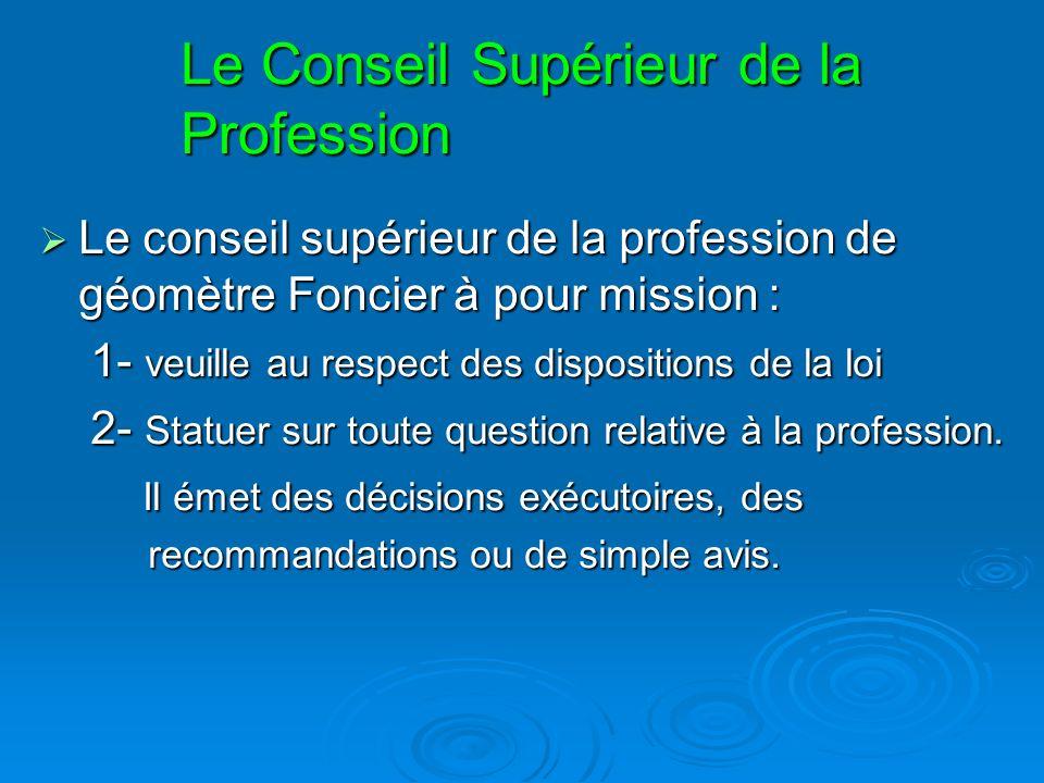 Le Conseil Supérieur de la Profession