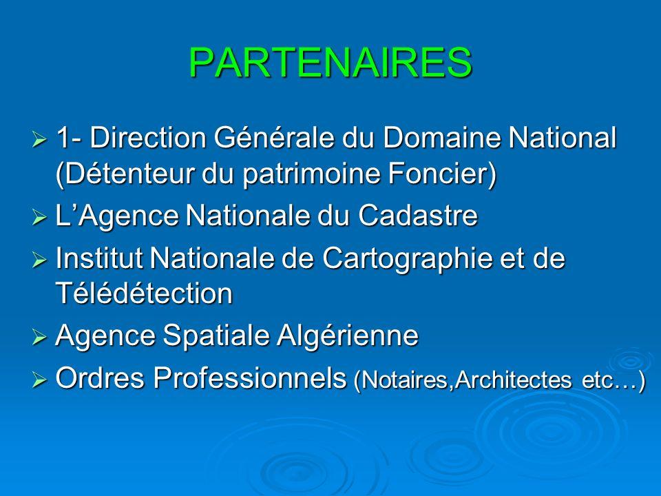 PARTENAIRES1- Direction Générale du Domaine National (Détenteur du patrimoine Foncier) L'Agence Nationale du Cadastre.