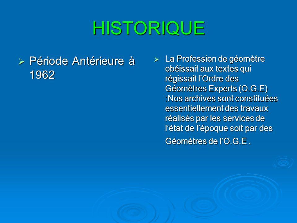 HISTORIQUE Période Antérieure à 1962