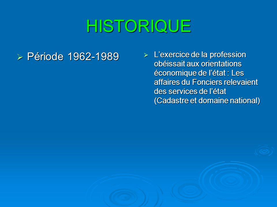 HISTORIQUE Période 1962-1989.